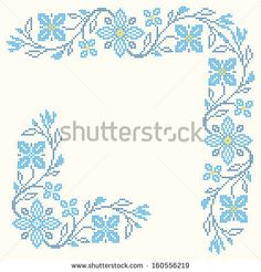 Stock vector of 'Design elements for cross-stitch embroidery in Ukrainian traditional ethnic style. Cross Stitch Borders, Cross Stitch Flowers, Cross Stitch Designs, Cross Stitch Patterns, Embroidery Patterns Free, Cross Stitch Embroidery, Hand Embroidery, Embroidery Designs, Graph Paper Art
