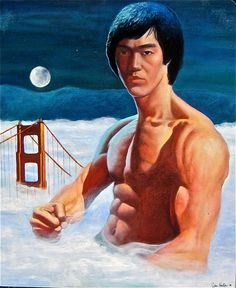 """From accompanying article, concerning Hilariously Bad Art: """"The canvas barely contains the dominating presence of the martial arts master rising through the fog to defend the city by the bay.""""  Def a work of """"Wtf?"""""""