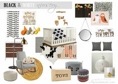 Remodelaholic   Designing a Nursery Using Black and White featuring the Joya Rocker by Monte Design.