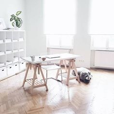 Minimal #workspacegoals  regram from Katharina @teastoriesblog in Austria  Katharina always inspires us with her feed  lifestyle blog. Not only is she gorgeous (she's a model ) she has a great eye for minimal design  interiors too. This is her airy ( spacious!) workspace...so peaceful like working in a cloud  Thanks Katharina for the workspace inspiration  PS. Your herringbone floors are    by workspacegoals