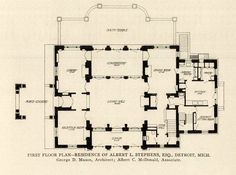 First Floor plan of the Albert L. Stephens, Esq. Residence, Detroit, Michigan    ARCHI/MAPS : Photo
