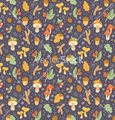 Colorful autumn treasures seamless pattern vector forest pattern by stolenpencil on VectorStock®