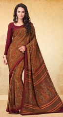 Orange & Red Color Crepe Office Wear Sarees : Harshali Collection YF-32521