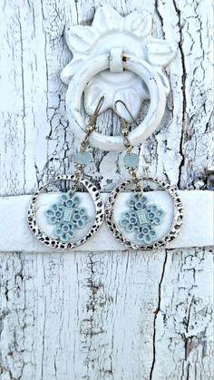 Aqua Cross Earrings HOOP EARRINGS Religious by SecretStashBoutique