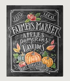Fall Art Farmer's Market Fall Decor Fall Print by LilyandVal