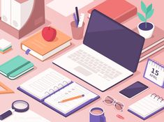 Students Work Desk with Educational Supplies. Laptop, Smartphone, Books, Exercise Books and other Stuff for Learning. - Buy this stock vector and explore similar vectors at Ad Essay Writing Help, Essay Writer, Academic Writing, Exercise Book, Work Desk, Learning Process, Writing Services, Free Vector Art, Student Work