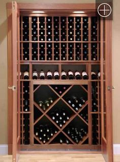 Reach-in Wine closet using Vigilant wine racking components and wine cellar door installed in Dover, NH Wine Cellar Basement, Wine Cellar Racks, Closet Conversion, Caves, Home Wine Cellars, Wine Cellar Design, Wine House, Wine Wall, Wine Cabinets