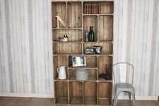 INDUSTRIAL VINTAGE STYLE RUSTIC PINE CRATE STORAGE UNIT SIDEBOARD BOOKCASE