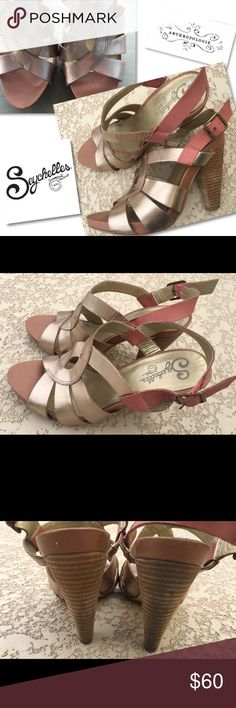 ANTHROPOLOGIE SEYCHELLES  GOLD STRAPPY SHOES HEELS ANTHROPOLOGIE  SEYCHELLES  LEATHER GOLD STRAPPY SANDALS SHOES HEELS  SZ 9  RETAILS $128 Anthropologie Shoes Heels
