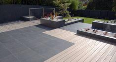 Porcelain paving and composite decking minimalist style garden design by Robert Hughes Garden Paving, Garden Pool, Party Garden, Roof Design, Patio Design, Back Gardens, Small Gardens, Minimalist Garden, Minimalist Style