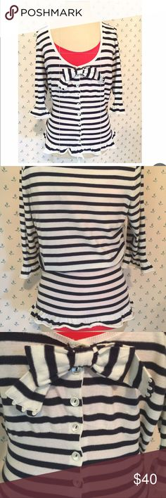 Anthropologie Moth Sailor Sweater Stripe, scoop neck, button down, ruffle trim around bottom and sleeves, fitted waist, hits at the hips Anthropologie Sweaters Cardigans