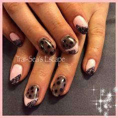 Pink lace nail art by Trai-Sea's Escape Spa