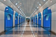 After 23 years in construction, punctuated by a very long break, Kazakhstan's Almaty Subway opened its doors on December 1st, 2011.  The world's youngest subway is immediately amongst the world's most beautiful, featuring a design character that is at once modern and classical.  Stained glass windows, geometric paint patterns, glossy floors and ornate chandeliers make this subway system a destination in its own right.