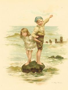 Items similar to Victorian 1896 Ernest Nister Antique Childrens Print Seaside Boy And Girl Standing On Rock Surrounded By Sea Big Wave Vintage Book Plate on Etsy Beach Illustration, Antique Illustration, Book Illustration, Vintage Cards, Vintage Postcards, Vintage Images, Vintage Swim, Girl Standing, Vintage Artwork