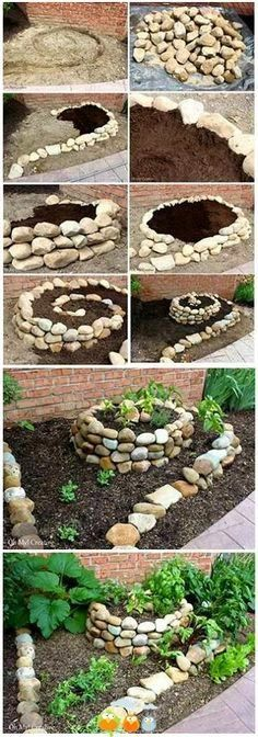 Skills for Survival - Google+ - Herb Spiral using wire and stones for the walls :…