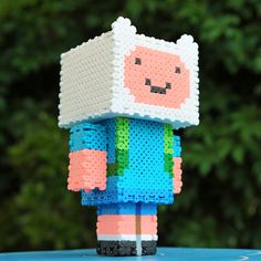 3D Adventure Time Finn Perler Bead Sprite Pixel Art by cococube