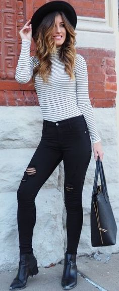 Le Fashion Monster Striped Turtleneck Fall Street Style Inspo by Le Fashion Monster