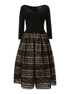 Eliza J 50s Style 3/4 Sleeve Lace Skirt Dress