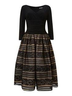 Eliza J 50s Style 3/4 Sleeve Lace Skirt Dress