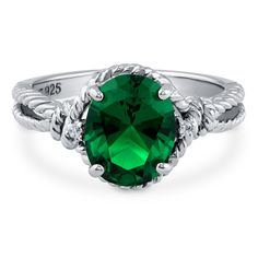 BERRICLE Sterling Silver 2.56 ct.tw Oval Simulated Emerald Cubic Zirconia CZ Solitaire Fashion Ring