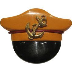 Bakelite Captain's Hat Pin for a Navy sweetheart