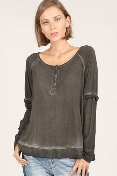 5b9e19e586a664 Charcoal Henley Long Sleeve Front Button, Long Sleeve Tees, Contrast,  Stitch, Cousins