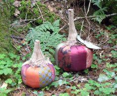 Patchwork pumpkins - decorated using men's ties