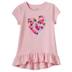 Girls 4-8 Jumping Beans® Short Sleeve Ruffled High-Low Tee