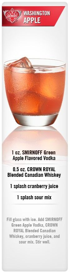 Because regal apple crown royal is seasonal. Washington Apple Drink Recipe made with Smirnoff Green Apple Flavored Vodka, Crown Royal Blended Canadian Whiskey, cranberry juice and Sour Mix. Vodka Cocktails, Non Alcoholic Drinks, Cocktail Drinks, Cocktail Recipes, Drink Recipes, Cocktail Parties, Martinis, Washington Apple Drink, Apple Vodka