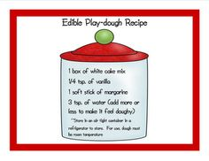 Edible play dough- great to make shapes with