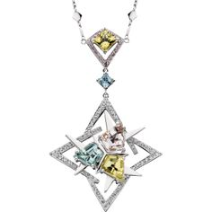 Spectrum of color -pendant Fancy shield cut mint beryl, golden beryl, and morganite with diamonds in 14kt white gold
