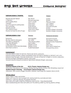 Costume Resume | Free Resume Cv