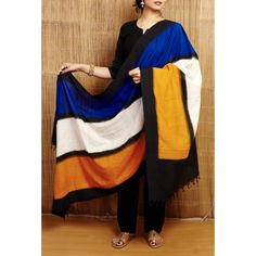 Gleamberry | Multicolour Single Ikkat Handloom Dupatta