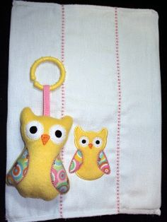 Yellow owl burp cloth with matching owl toy with by PJSEMBROIDERY