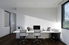 White wall mounted desk the highlight of this home office space