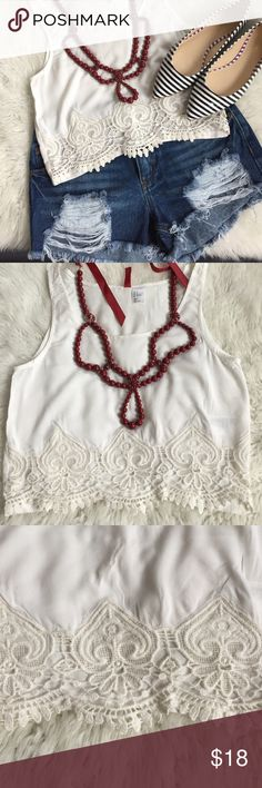 Crop top and necklace bundle White lace crop top and statement necklace. Would also look great with high waisted jeans and pumps. Top is a size 2 from H&M. Necklace from H&M as well. H&M Tops Crop Tops