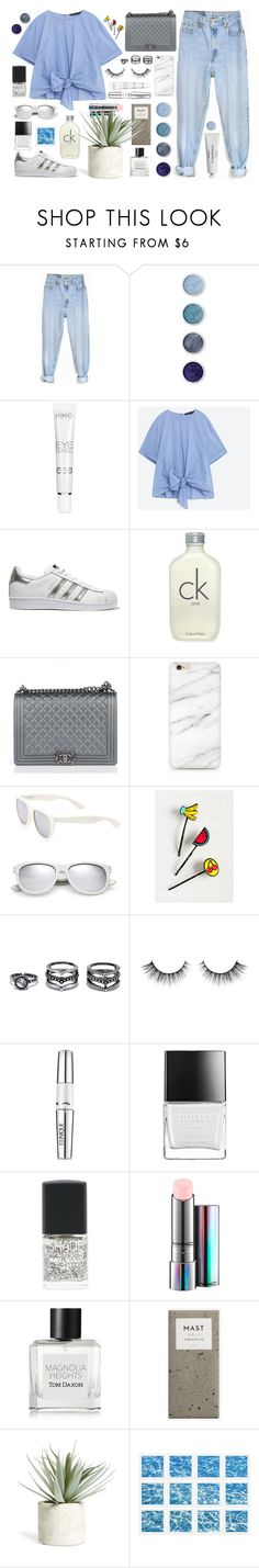 """""""Blue 💎"""" by tamo-kipshidze ❤ liked on Polyvore featuring Levi's, Terre Mère, adidas Originals, Calvin Klein, Chanel, Yves Saint Laurent, LULUS, Clinique, Butter London and Lane Bryant"""