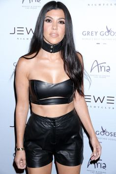 Black leather shorts bra top and choker collar necklace
