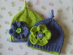 Bright Blossoms Tie Knot Baby Hat Beanie