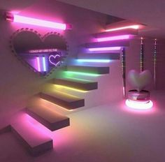 Image in dream rooms/houses collection by xmadlyxinlove Girl Bedroom Designs, Room Ideas Bedroom, Bedroom Decor, Bedroom Design For Teen Girls, Neon Bedroom, Cute Room Ideas, Cute Room Decor, Neon Room Decor, Awesome Bedrooms
