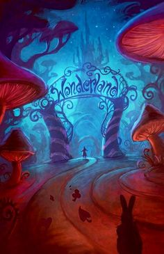 Alice in Wonderland scene cartoon illustration via www.Facebook.com/DisneylandForMisfits