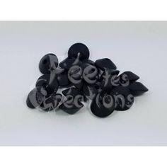 Lot de 10 Perles Plates forme lentilles noir en silicone
