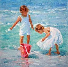 Enjoyment by Joyce Norwood Oil ~ 30 x 30 Watercolor Flowers, Watercolor Art, Beach Artwork, Beach Paintings, Painting People, Beach Scenes, Art Techniques, Diy Painting, Painting Inspiration