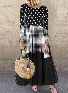 Color Block Tunic Round Neckline Maxi Shift, Dress - Black / S Plus Dresses, Casual Dresses, Fashion Dresses, Maxi Dresses, Evening Dresses, Womens Fashion Online, Latest Fashion For Women, Plain Dress, Dot Dress
