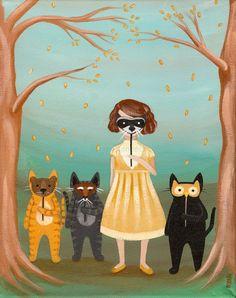 Woodland Costume Party Original Cat Folk Art Painting by Kilkennycat