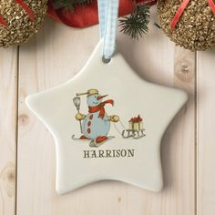 Personalised Sledging Snowman Star Ceramic Decoration