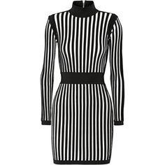 Balmain Striped stretch-knit mini dress (9.965 BRL) ❤ liked on Polyvore featuring dresses, black, black dress, striped cocktail dress, mini dress, short black dresses and vertical stripe dress
