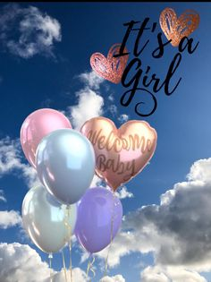 A blue sky with clouds in the background. Balloons and text announcing the birth of a child. It's a Girl! Happy Birthday Greetings Friends, Happy Birthday Wishes Photos, Birthday Wishes For Kids, Happy Birthday Video, Happy Birthday Celebration, Happy Birthday Girls, Baby Girl Born, Its A Baby Girl, New Baby Girl Wishes