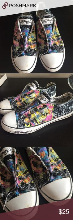 Ed hardy sneakers Selling my Ed hardy shoes. Only worn a few times. They have a little bit of wear on them (see pictures) but nothing too noticeable. They are in great condition. Please feel free to ask questions or make an offer. Ed Hardy Shoes Sneakers