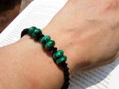 Malachite Macrame Adjustable Bracelet  Stone by PeaceofStoneStudio, $15.00